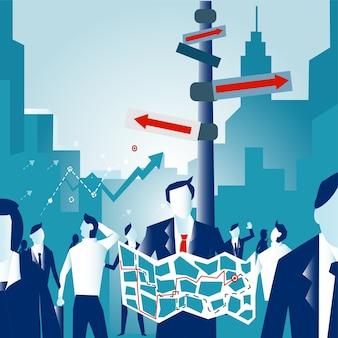 ビジネスマンは、交差点で競争相手を獲得する方法を見つけるトラフィックライト