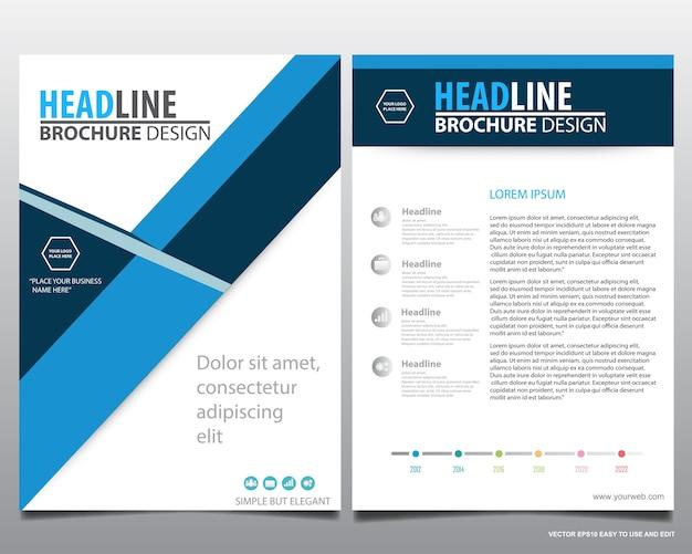 ブルーフライヤーカバービジネスパンフレット、リーフレット広告の抽象的な背景