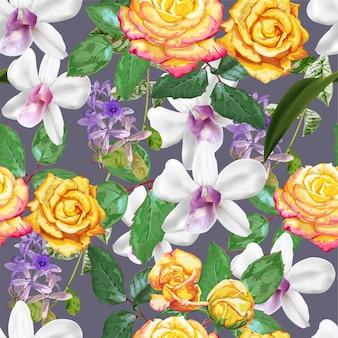紫色の花輪とバラのシームレスパターン