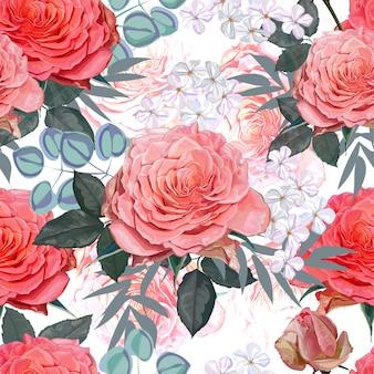 バラの白と黄色のシームレスパターン