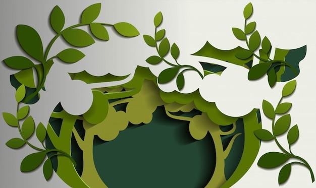 Природа дерева фона в стиле бумаги вырезать