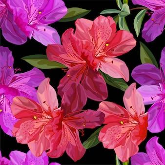 ツツジのベクトル図とシームレス花柄