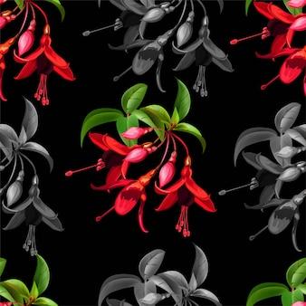 フクシアベクトルイラストとシームレスな花柄