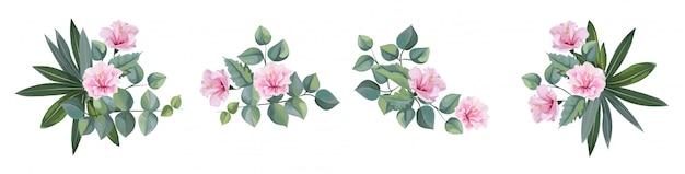 熱帯の花と葉、ハイビスカスの花の花束のセット