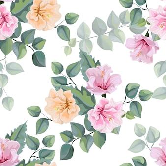 ハイビスカスの花と熱帯の葉のシームレスなパターンベクトル図