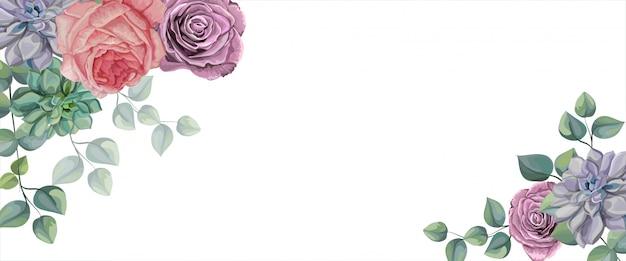 バラ、多肉植物、熱帯の葉ベクターイラスト