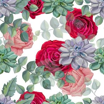 バラ、多肉植物、熱帯の葉のシームレスなパターンベクトル図