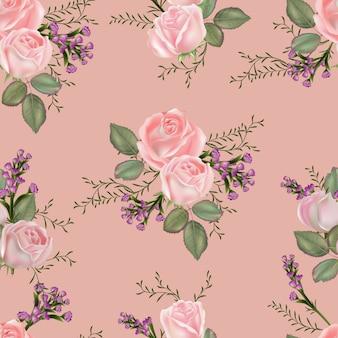 ピンクのバラのイラストと花のシームレスパターン