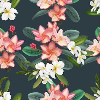 プルメリアの花のシームレスなパターン図