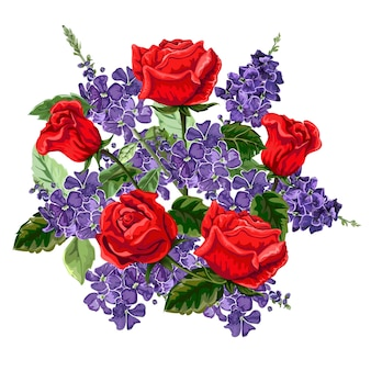 赤いバラと紫の花の花束