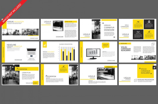 パワーポイントスライドインフォグラフィックの黄色要素
