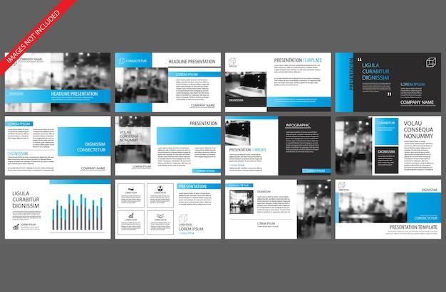 パワーポイントスライドプレゼンテーションのための青いテンプレート