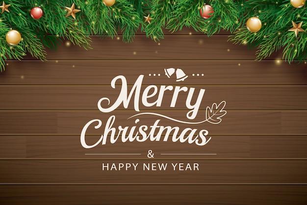 クリスマスの挨拶カード、茶色の木製の枝