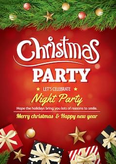 メリークリスマスパーティーギフトボックスと赤の背景にツリー