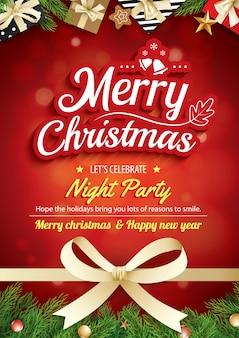 メリークリスマスグリーティングカードと赤い背景にパーティー