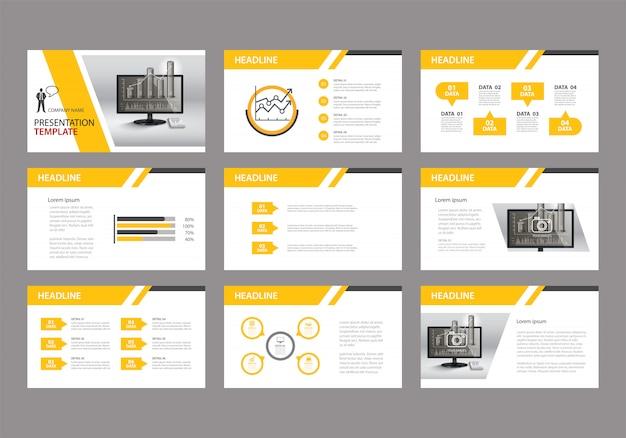 スライドプレゼンテーションの背景に黄色のテンプレート。