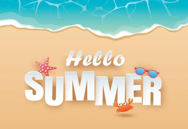 こんにちは夏のビーチトップビュー旅行や休暇の背景