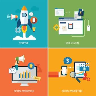 デジタルマーケティング、スタートアップ、ウェブデザイン、ソーシャルマーケティングのセット