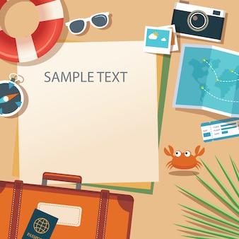 Лето и путешествия плоский дизайн баннера шаблон