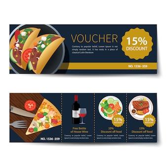 Набор продуктов питания ваучер скидка шаблон дизайна