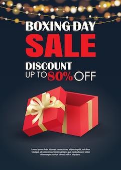 Продажа дня рождественских подарков с красным шаблоном рекламного плаката подарочной коробки.