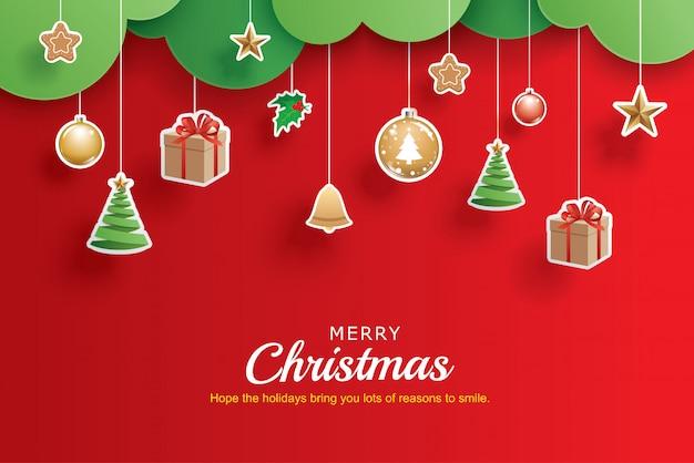 メリークリスマスと新年あけましておめでとうございますグリーティングバナーテンプレート