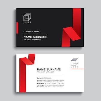 Минимальная визитная карточка печати шаблон дизайна. черный и красный цвет