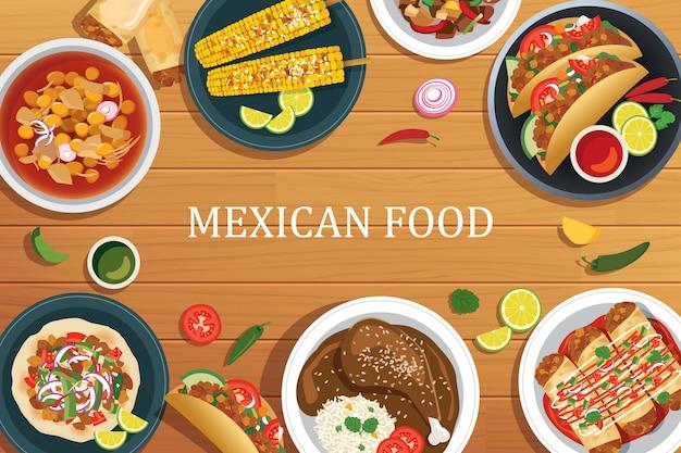 木製の背景にメキシコ料理。ベクトルメキシコ料理のトップビュー。