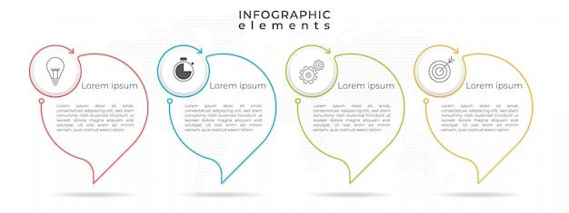 Хронология инфографики шаблон с четырьмя параметрами или шагами.