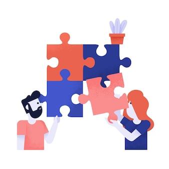 チームワークパズルのベクトル図