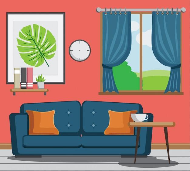 Уютная гостиная с диваном, книгой, столом, каркасом на стене кораллового цвета.