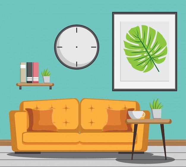 黄色のソファー、本、テーブル、ミントの壁にフレームがある居心地の良いリビングルーム。