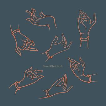 Векторные руки тайский стиль коллекции