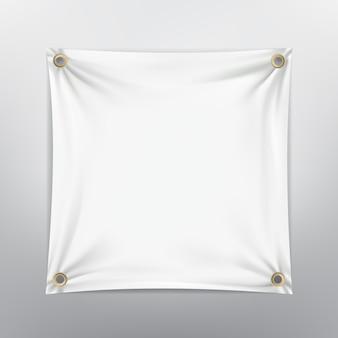 白いシワのキャンバスの正方形