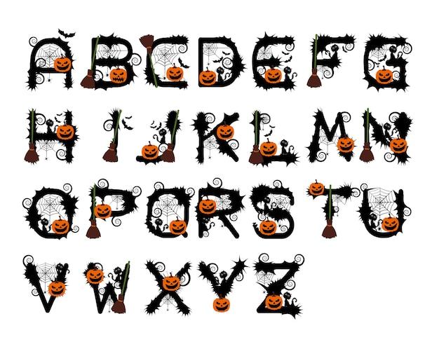 ハロウィンのアルファベットのベクトル