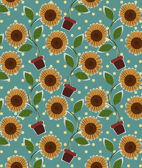 太陽の花のパターンのベクトル。
