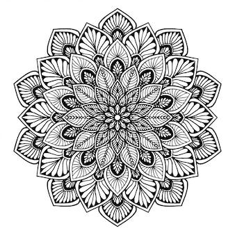 マンダラ塗り絵、花の形、オリエンタル療法、ヨガのロゴベクトル。