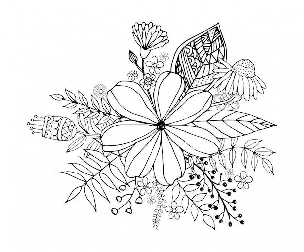 花と幸せなバレンタインデー落書き花束ぬりえブックスタイルベクトル。