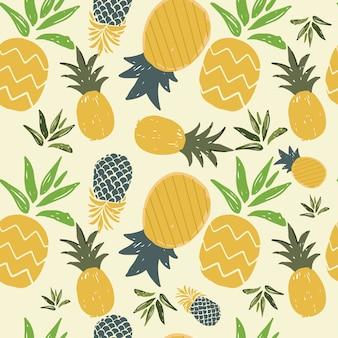 夏のパイナップルシームレスパターン