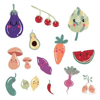 かわいい漫画の果物と野菜のキャラクター、アイコン、イラストセット:ニンジン、トマト、アボカド、キノコ、ジャガイモ、レモン。