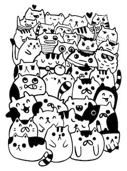 黒と白の手描画ベクトル、猫のキャラクタースタイルは、子供のためのイラストのいたずら書きを落書き。