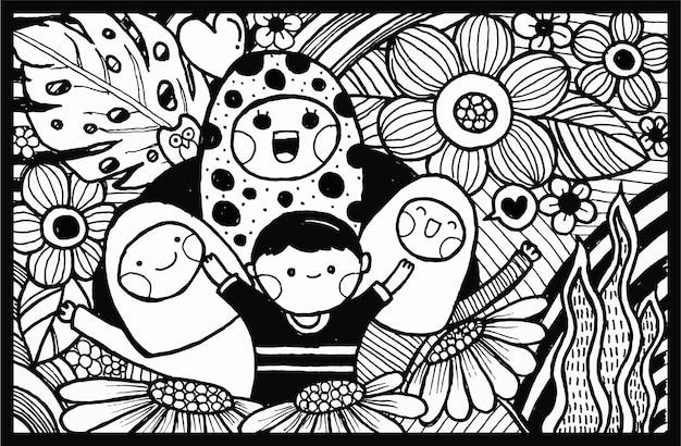 黒と白の手描き落書きベクトル、母の日グリーティングカード。母と子の花を持つイラスト。