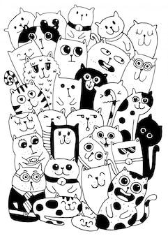 黒と白の手描き、猫キャラクタースタイルのいたずら書き
