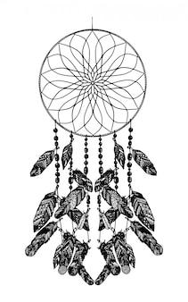 矢印と羽のドリームキャッチャー