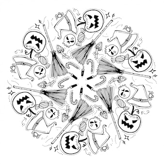 幸せなハロウィーンの花輪。落書きスタイル。