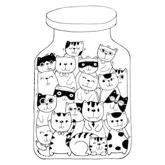 黒と白の手描き、猫キャラクターセットスタイルの落書きイラスト子供のための着色。