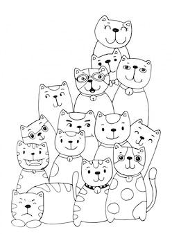 Кошка персонажи набор стиль рисовал иллюстрации раскраски для детей