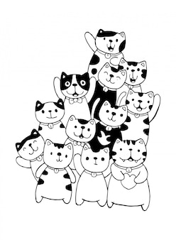 黒と白の手は子供のための猫キャラクタースタイル落書きイラストを描く