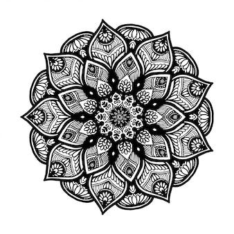 タトゥー、ヘナ、塗り絵、装飾用の丸い花曼荼羅。