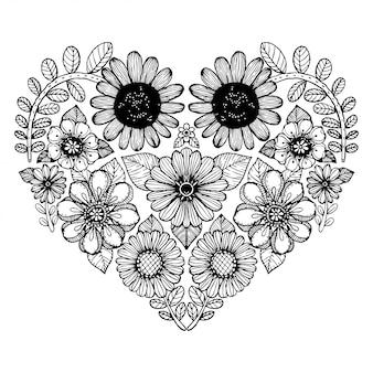 花の華やかなフリーハンドスタイルのハートモチーフ。